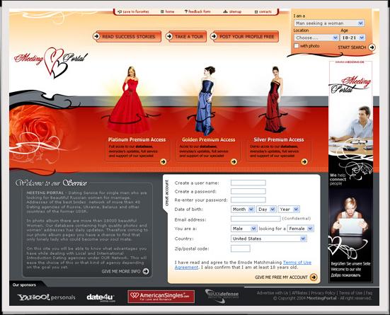 - Webdesign der Startseite.