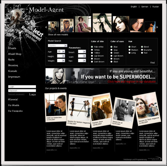 - Webdesign der Online-Model Vermittlungsplattform und technische Umsetzung